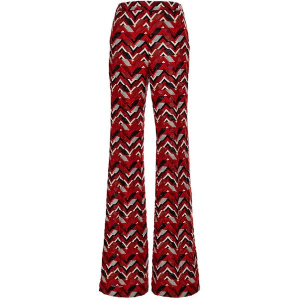 Giambattista Valli Red Ricamo Chevron Wide Leg Pants ($1,550) ❤ liked on Polyvore featuring pants, shiny pants, wide leg bohemian pants, giambattista valli, retro pants and embroidered pants