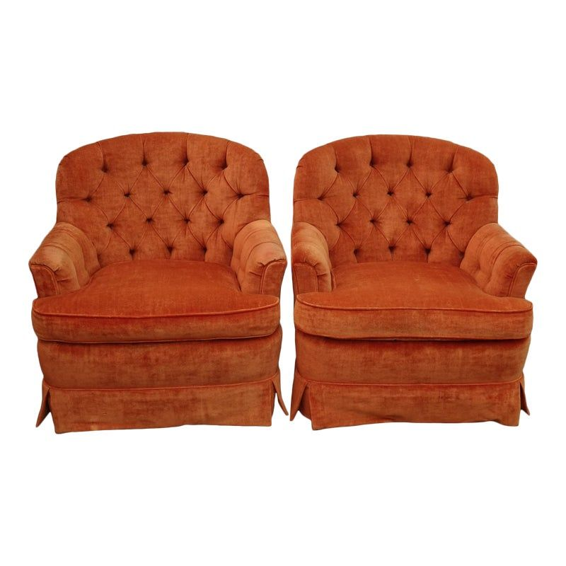 Pair Of Mid Century Modern Orange Tufted Velvet Accent Chairs By