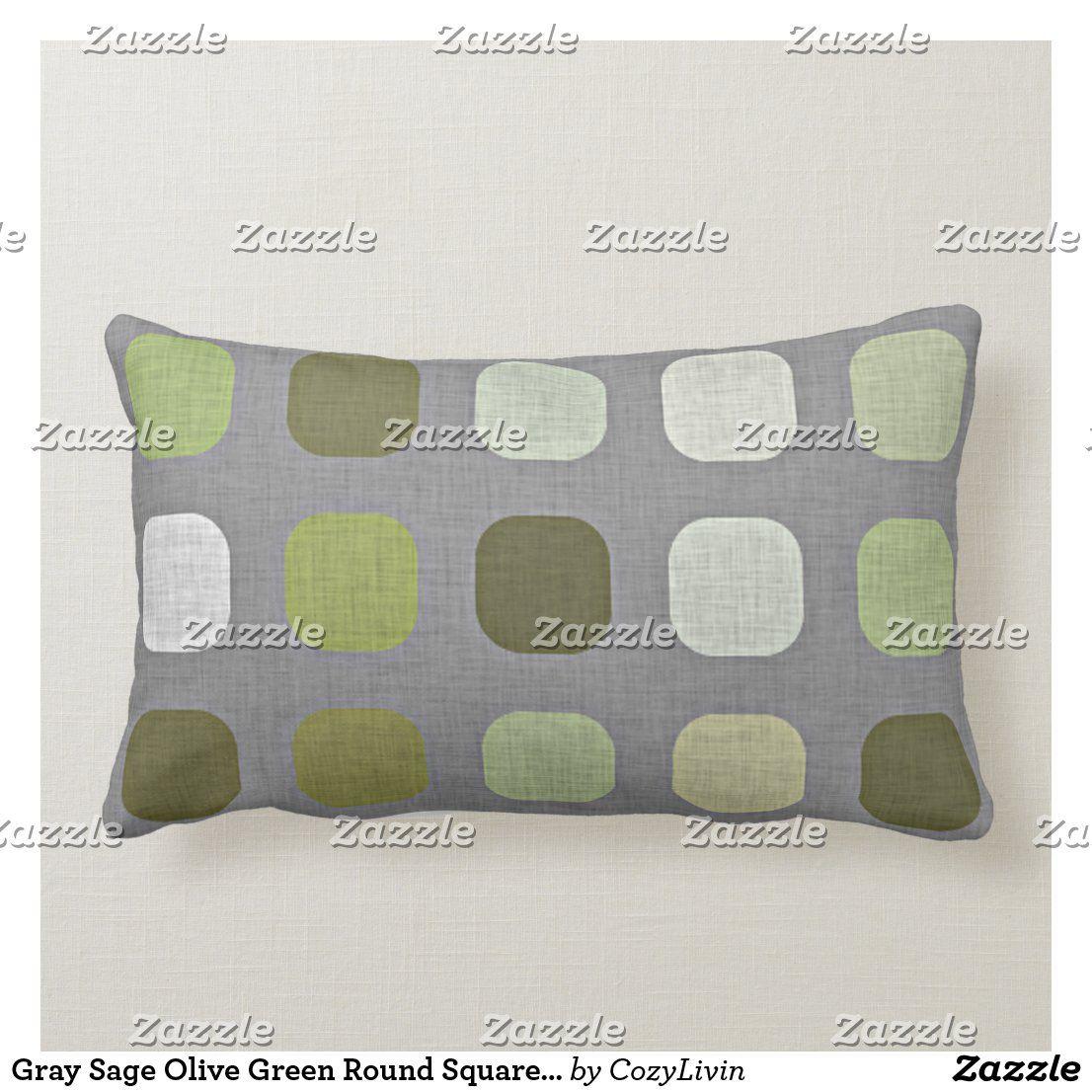 Gray Sage Olive Green Round Squares Art Lumbar Pillow