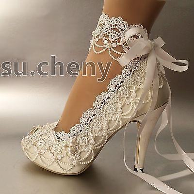 e1538a2b9ab 3-034-4-heel-white-ivory-satin-lace-ribbon-open-toe-Wedding -shoes-bride-size-5-9-5