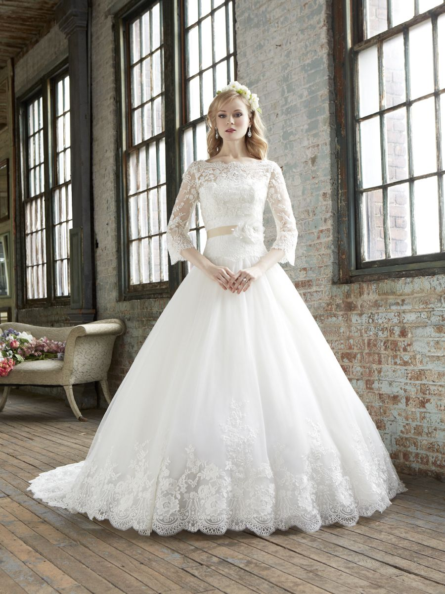 Romantic ball gown with lace long sleeves lace wedding dress with