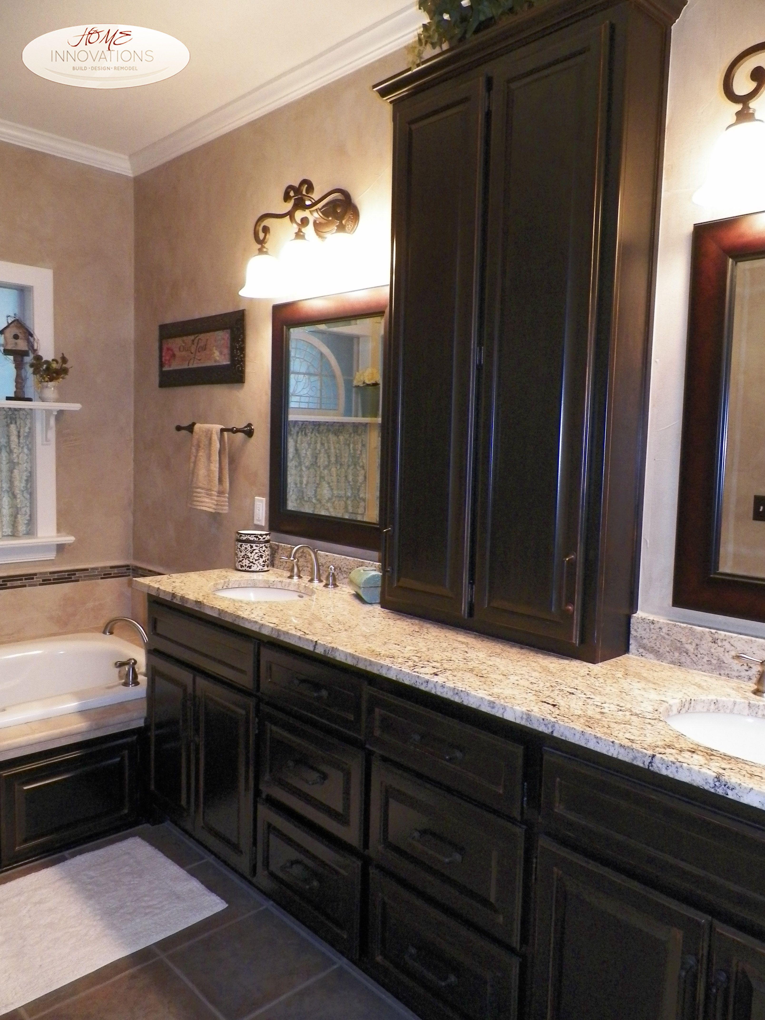 black cabinets granite countertops vanity top storage - Bathroom Cabinets Tulsa