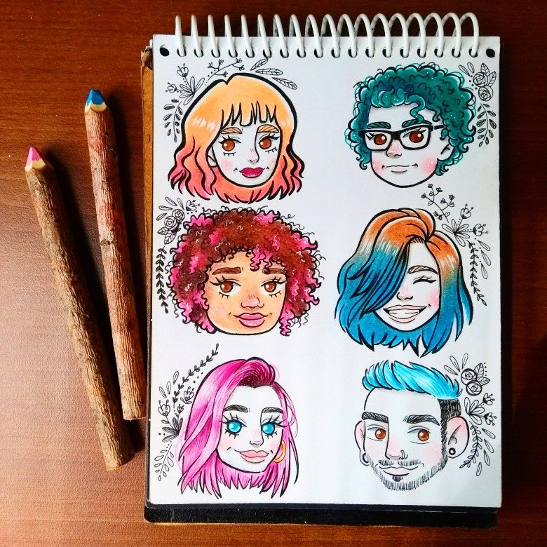 little people with colorful hair paank drawing