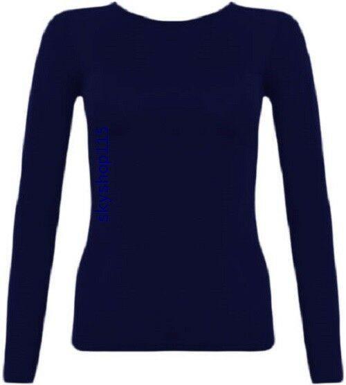Womens long sleeve stretch plain round scoop neck t shirt ...