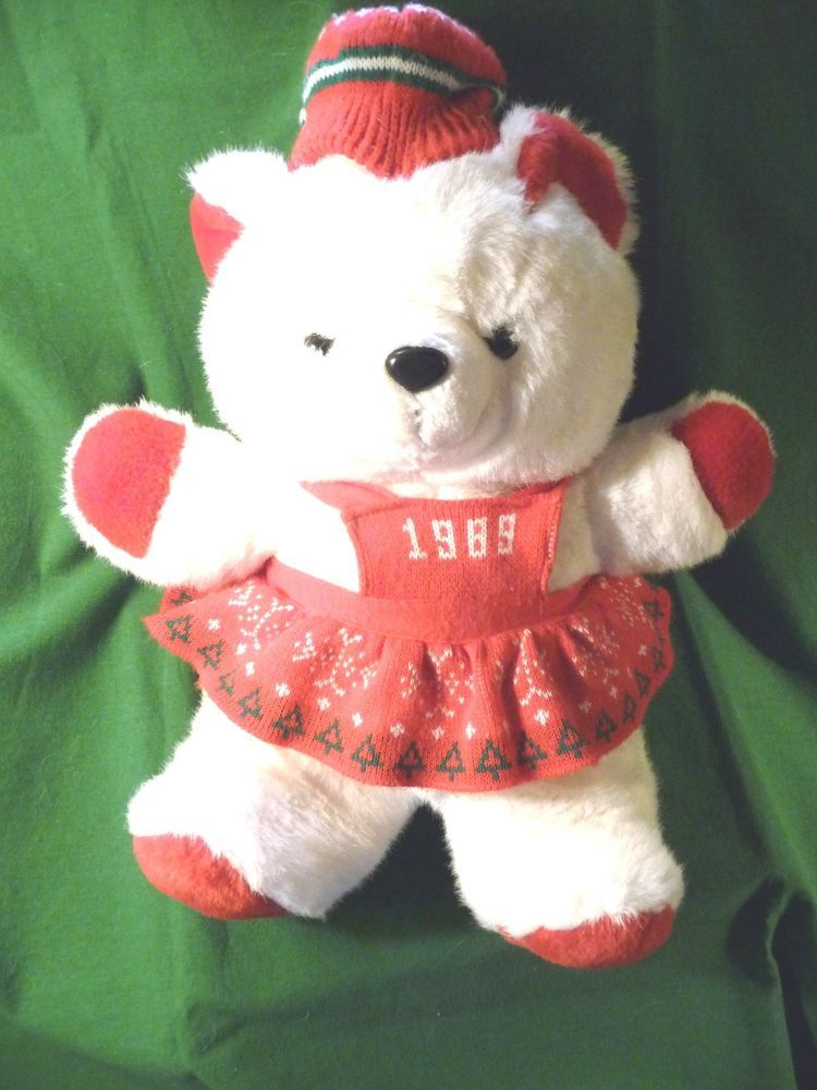 Vintage K Mart Christmas Teddy Bear 1989 White Girl Red Sweater ...