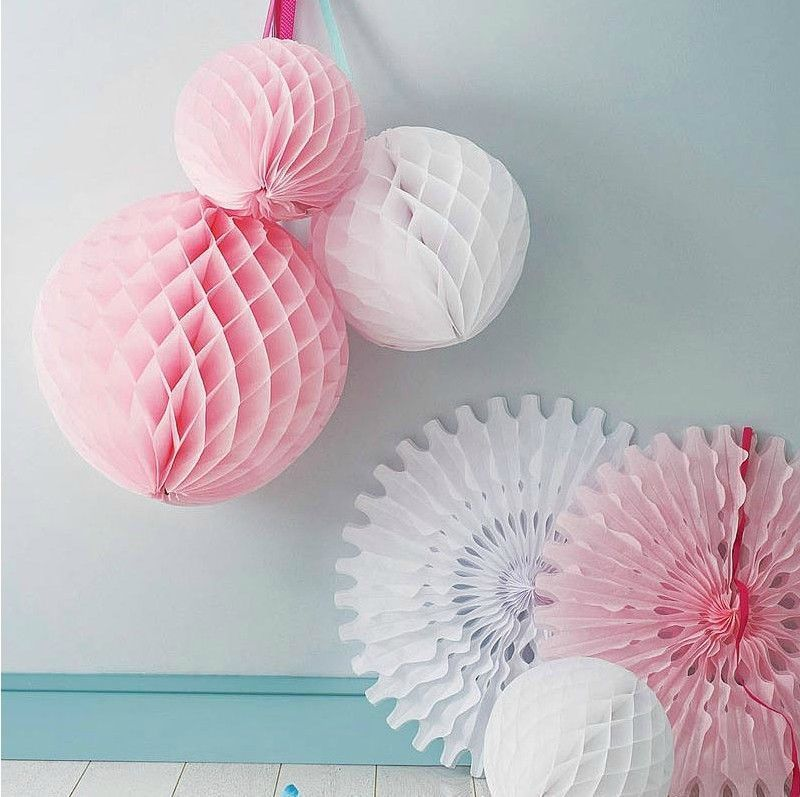 Honeycomb Balls Decoration Light Pink Pom Poms Lanterns Fans Honeycomb Ball Wedding Party