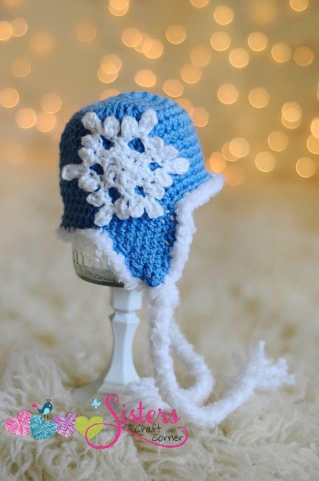 Blue Winter Snowflake Hat - Crochet Snowflake Hat - Custom Snowflake ...