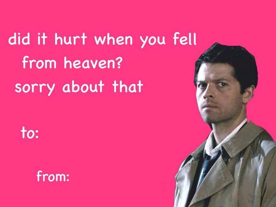 Supernatural Valentine\'s Day Cards   Supernatural, Cards and Fandom