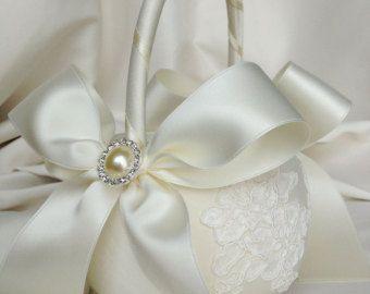 Ivory and Navy Flower Girl Basket Ivory by weddingsandsuch