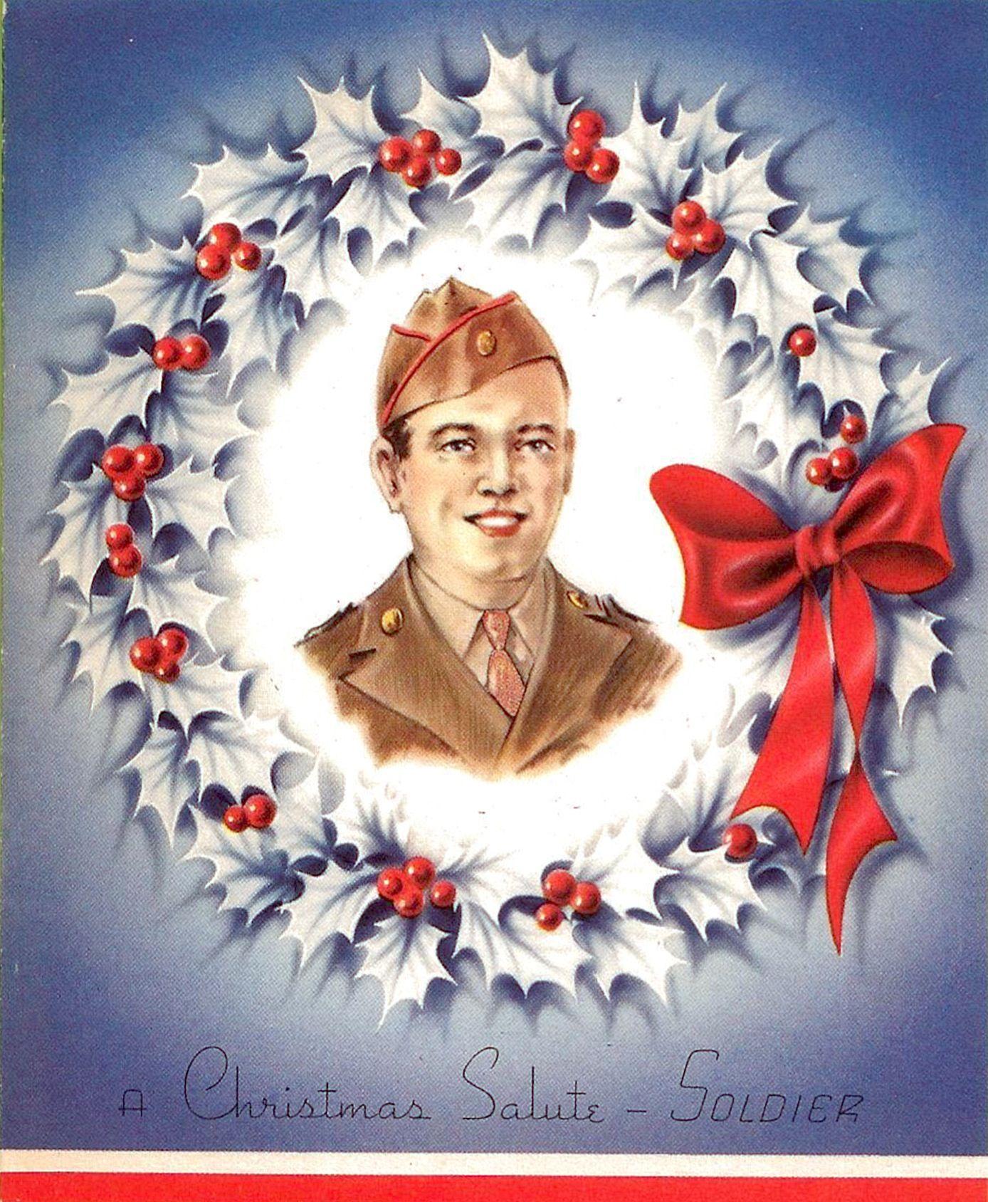 "WWII Christmas Card (1942) Colorful 4Fold ""Christmas"