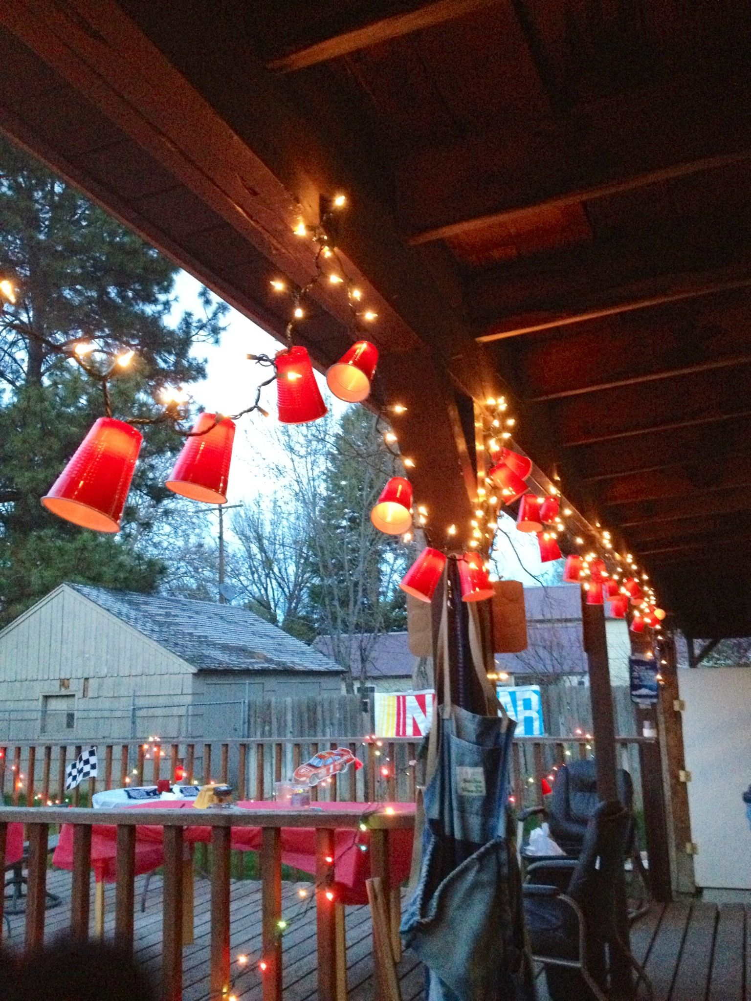 White Trash Christmas Party Ideas Part - 15: For White Trash Bash- Red Solo Cup Lights- So Easy To Make! Cut An X In The  Bottom Of The Cup And Scatter Them Around The Strand Of Lights.