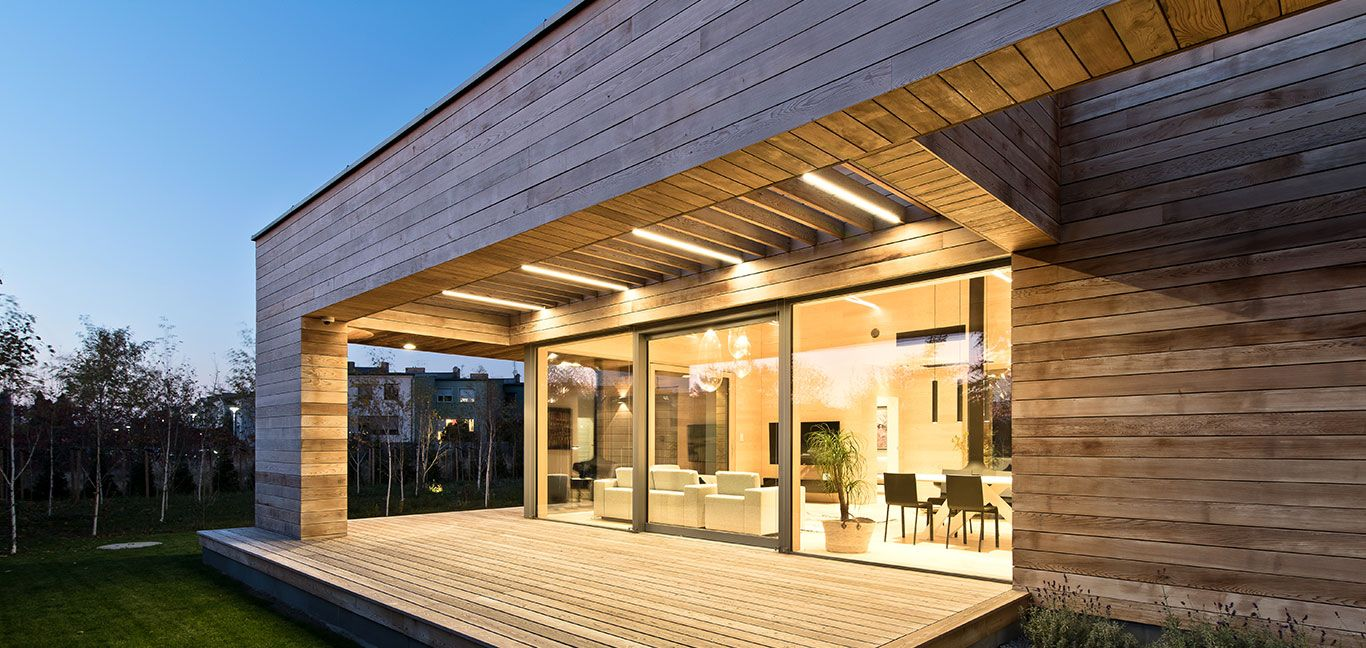 Mariusz Wrzeszczu0027s Cedar House Is A Stunning Single Storey House In Poland  With Cedar Clad Walls, A Glazed Living Room With Amazing Double Height  Suspended ...