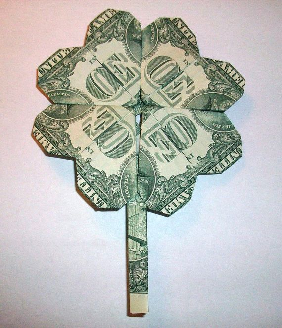 Dollar Bill Origami Christmas Tree: 4-LEAF CLOVER - Money Origami - Dollar Bill Art