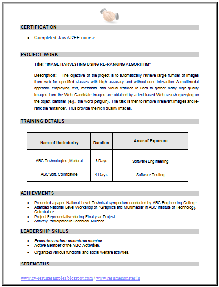 Resume Format In Word For Computer Engineers Freshers