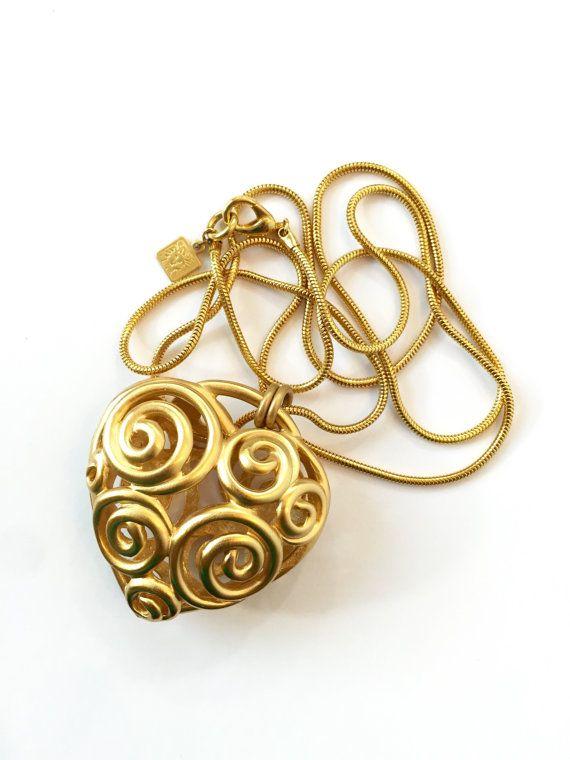 Vintage Anne Klein Puffy Heart Necklace 80s Designer Signed Pendant