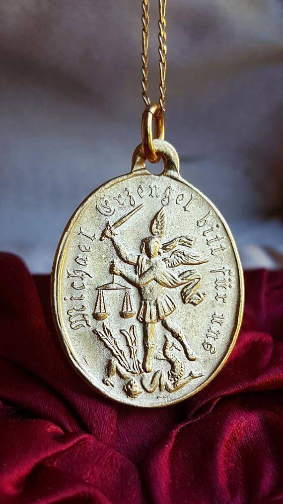 18k German Gold Plated Saint Michael Medal Pendant Demon Slayer