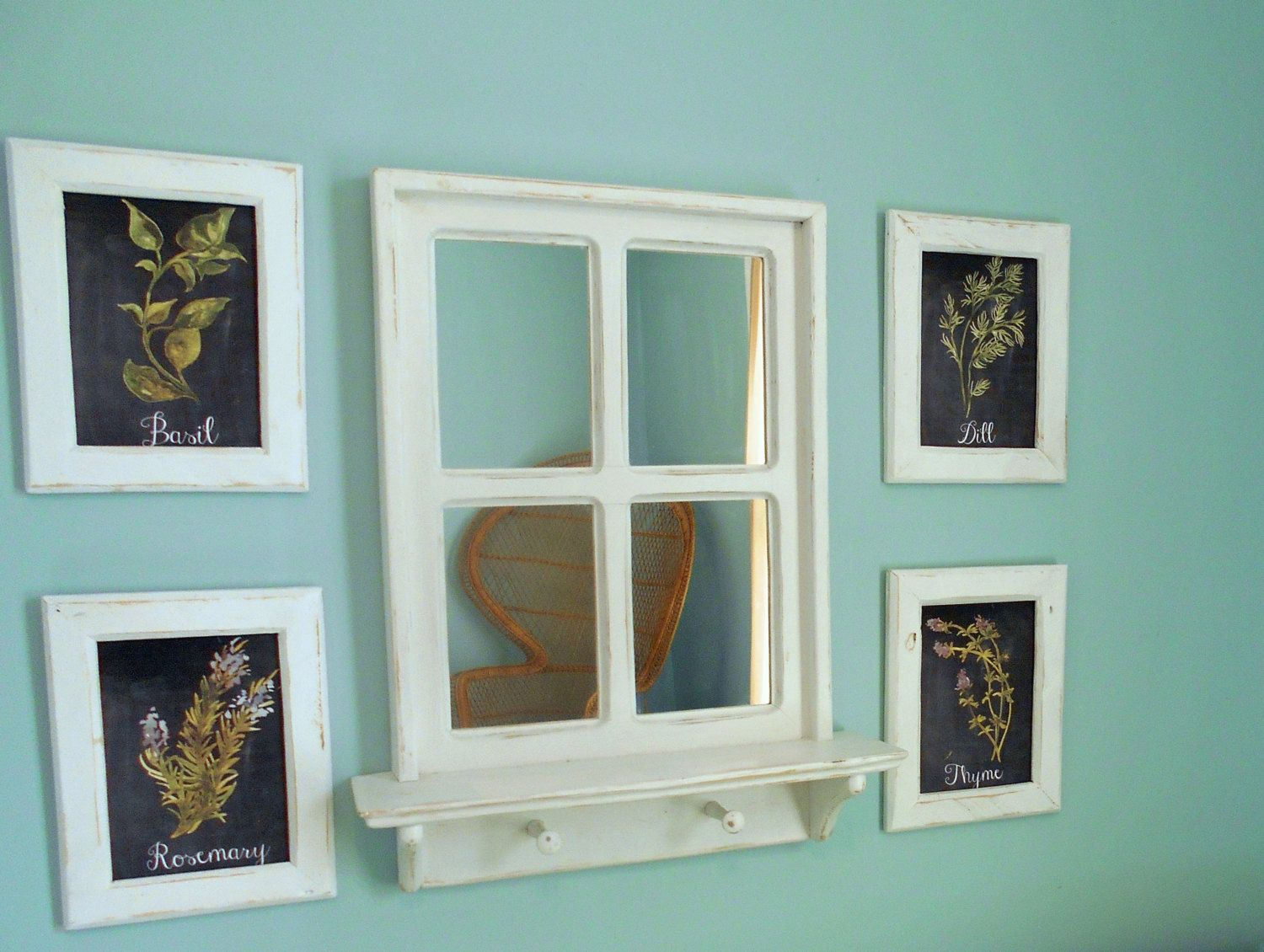 Rustic Window Mirror and Framed Herbs Kitchen Wall Art by ...