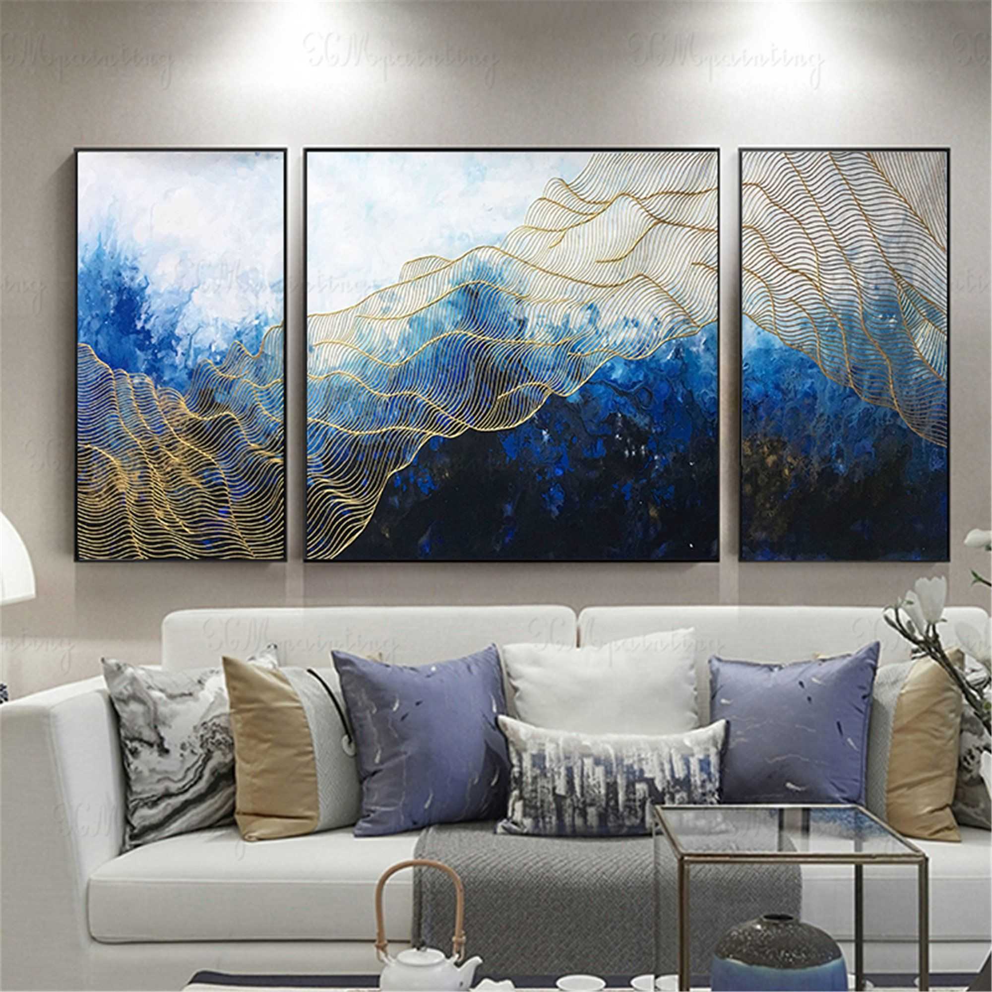 3 Pieces Gold Art Abstract Painting Wall Art Pictures For Etsy Abstract Art Painting Wall Painting Abstract Painting