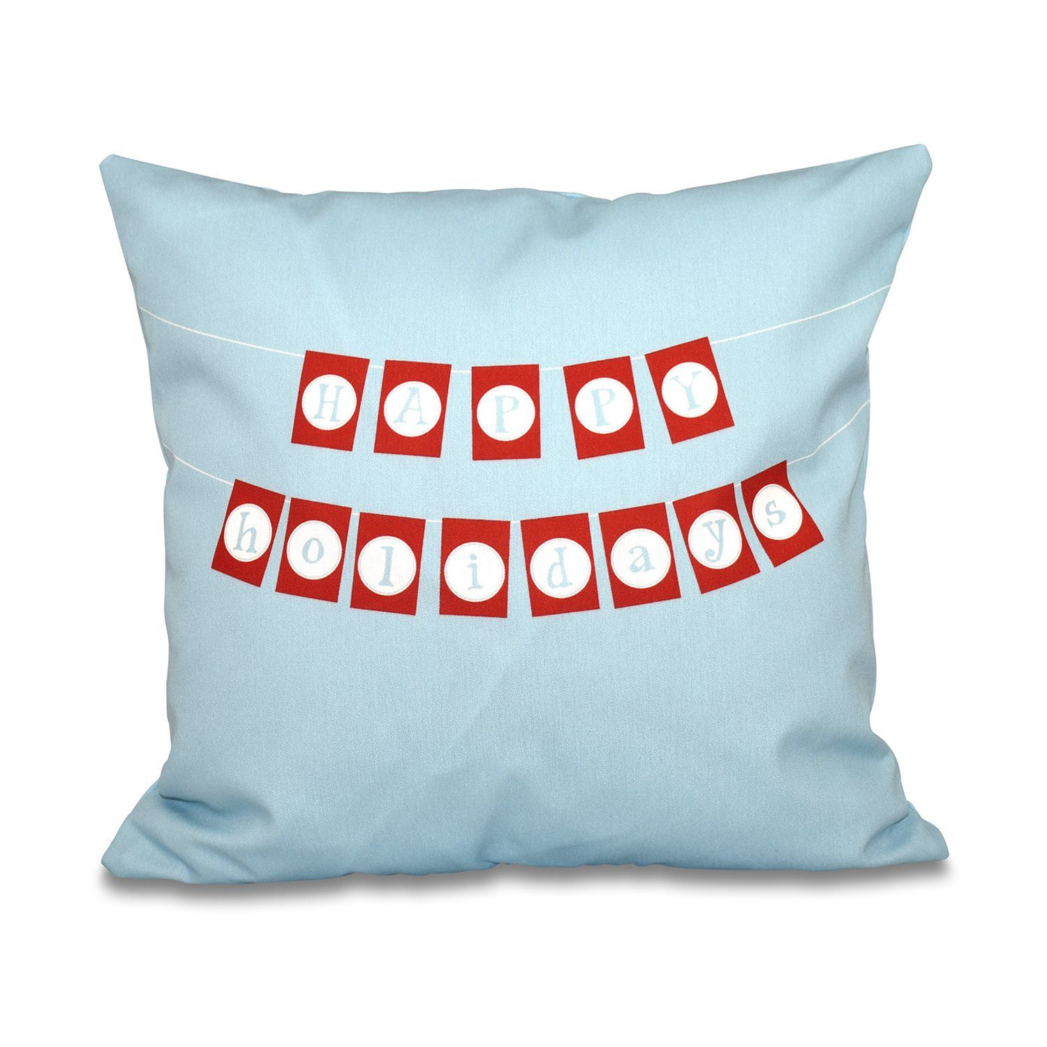 E by design happy holidays banner word print inch throw pillow
