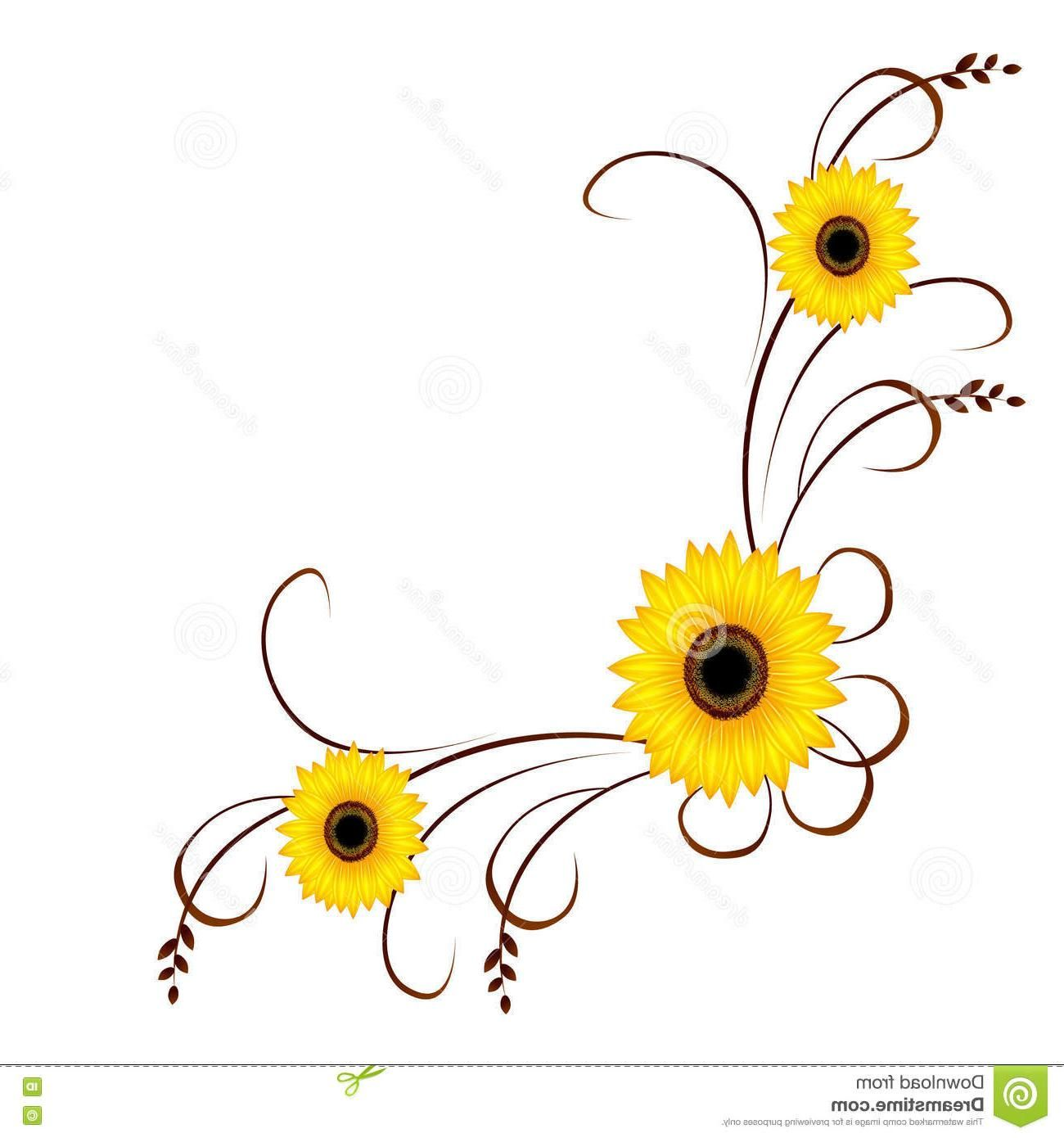 Best Sunflower Corner Border Vector Yellow Flower Unique Ornament Sunflowers White Unique Ornament Corner Borders Yellow Flowers