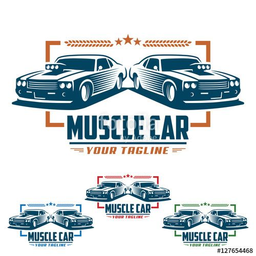 Vector Muscle Car Logo Retro Logo Style Vintage Logo Fitness