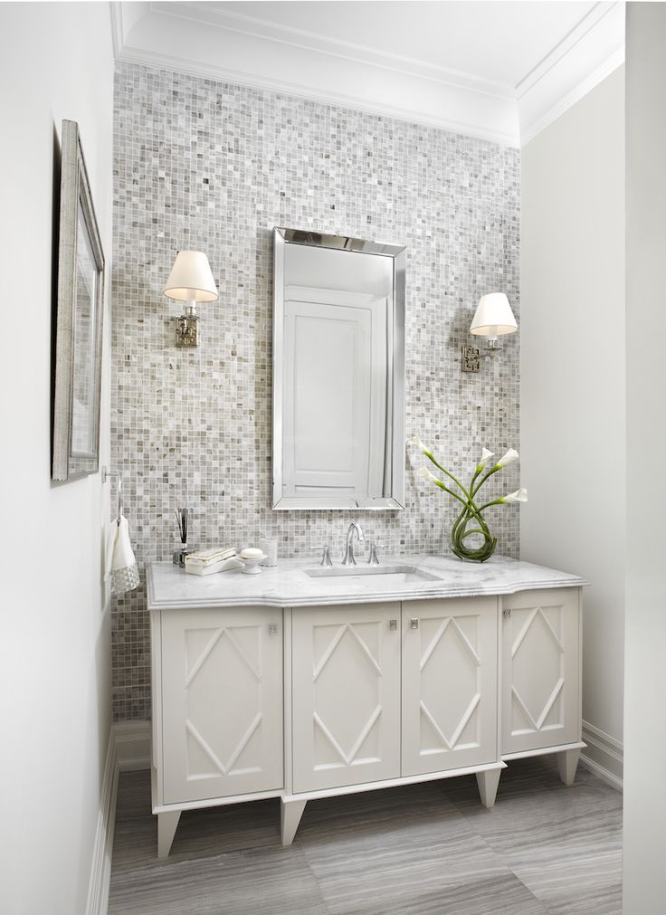 Classic Powder Room Bathroom Accent Wall Tile Accent Wall Mosaic Bathroom Tile