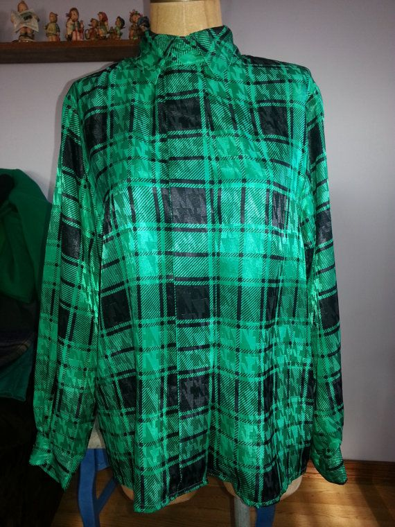 #80s #Vintage #Emerald #Green #Plaid #Blouse Size #Medium http://etsy.me/YHFK3e via @Etsy #Fashion #Style #Color #2013 #Retro #Exciting