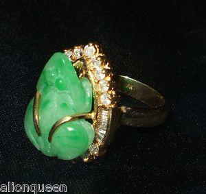 Estate Ring 18K Gold Diamonds Jade Money Frog Size 8 Good Luck Feng