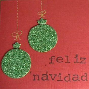Postales de Navidad Bolas con purpurina Manualidades de tarjetas