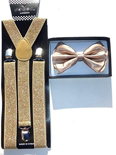 Suspender and Bow Tie Adults Men Silver Sequin Wedding Formal Wear Accessories