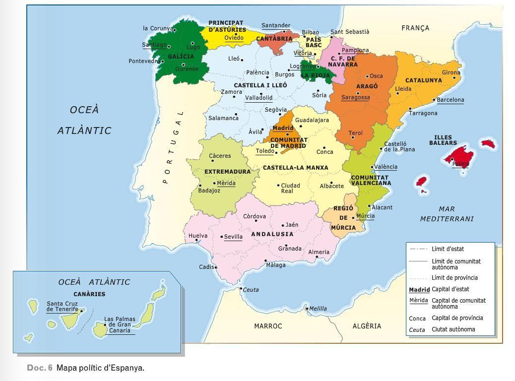 Mapa Politic D Espanya Geografia Mapas Mapa Interactivo