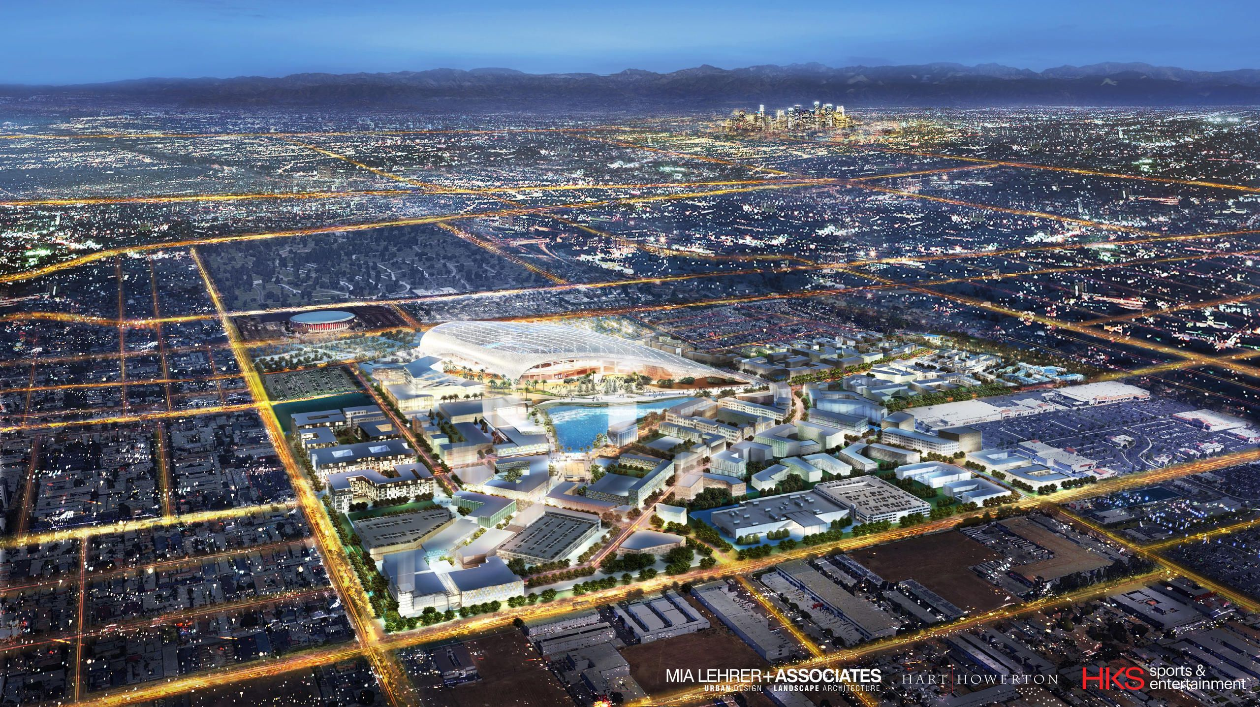 The Latest Renderings Of The New Los Angeles Stadium And Entertainment District At Hollywood Park Lased Set To Debut I Inglewood Artificial Lake Nfl Stadiums