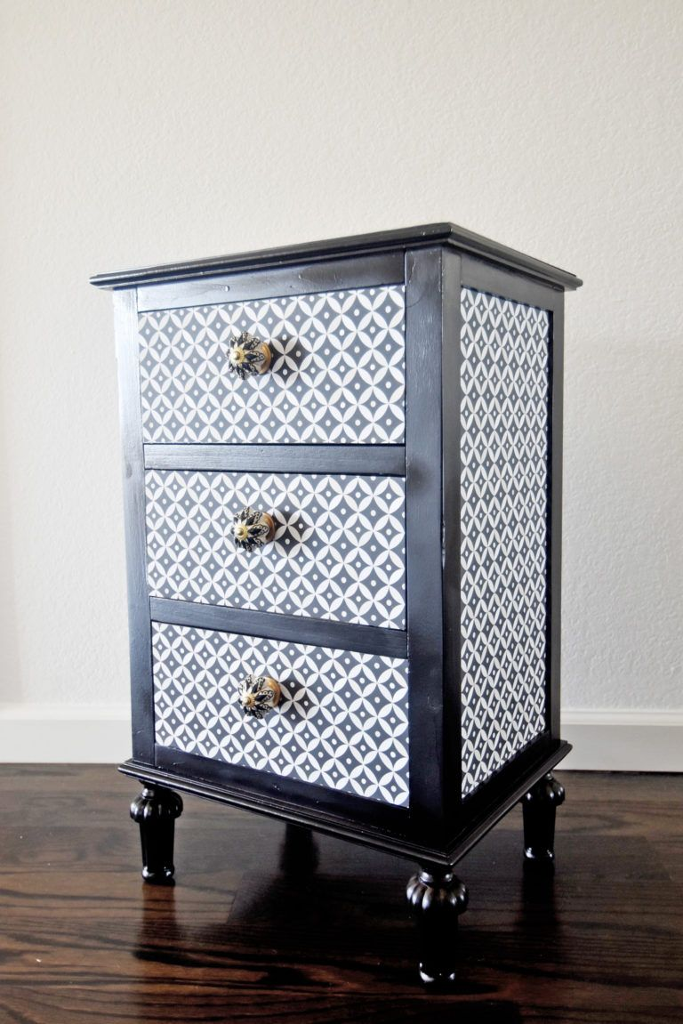 Revamp a Nightstand with Wallpaper Wallpaper furniture