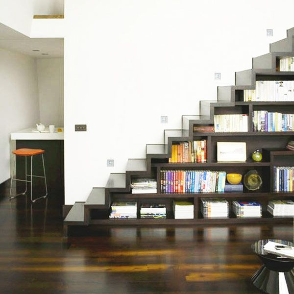 Wonderful Futuristic Stairway In Steel Gray With Polished Shelves   Probably Europe  As There Is No Handrail   40 Under Stairs Storage Space And Shelf Ideas To  ...