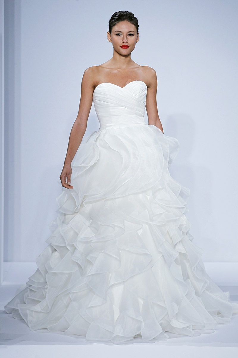 The ruffled tiers on this dennis basso gown are fabulous for