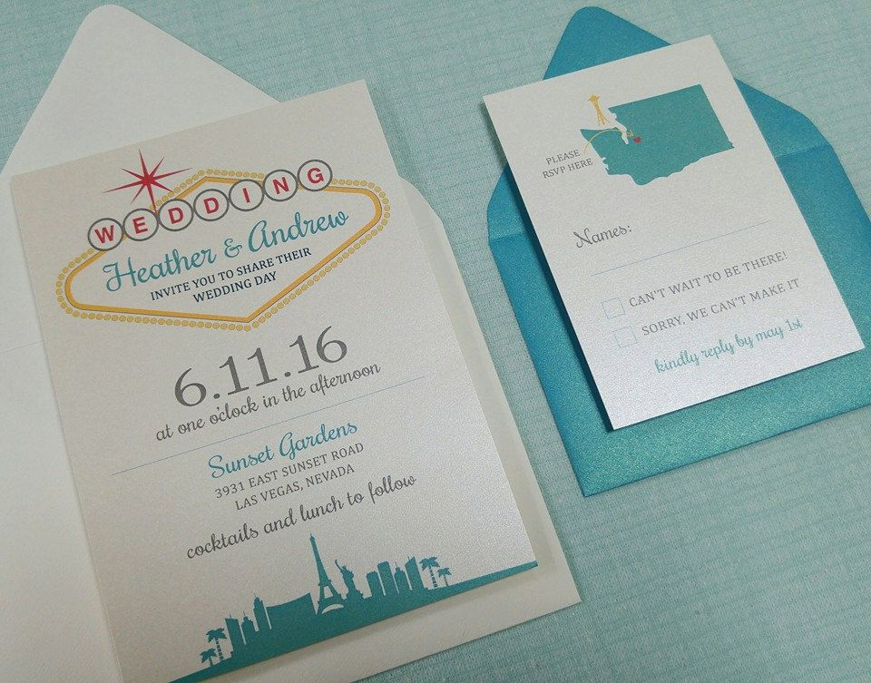 Custom Las Vegas Themed Wedding Invitation Set | Vegas Theme Wedding ...