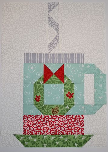 In From The Cold Hot Cocoa quilt block #4 by Grey Dogwood Studio. Pattern and fabric by Kate Spain.