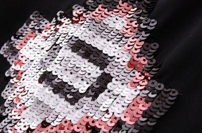 Black Sleeveless Sequined Embroidery Chiffon Vest