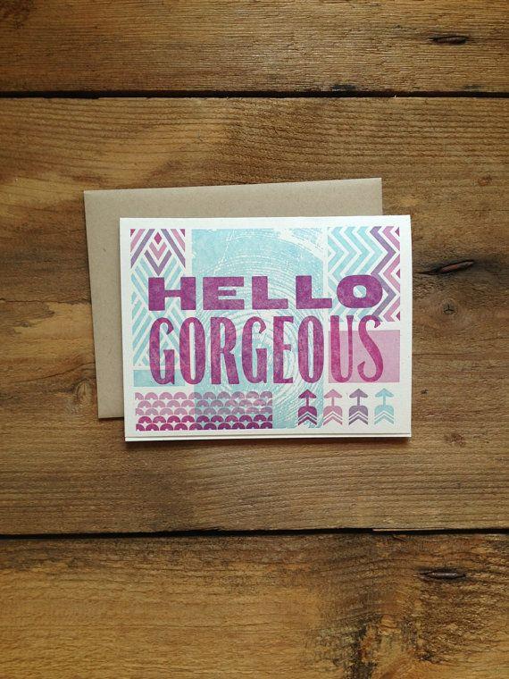 Hello Gorgeous - Letterpress Card