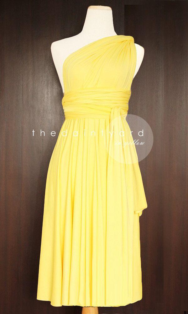 Short+Straight+Hem+Yellow+Bridesmaid+Convertible+by+thedaintyard,+$34.00