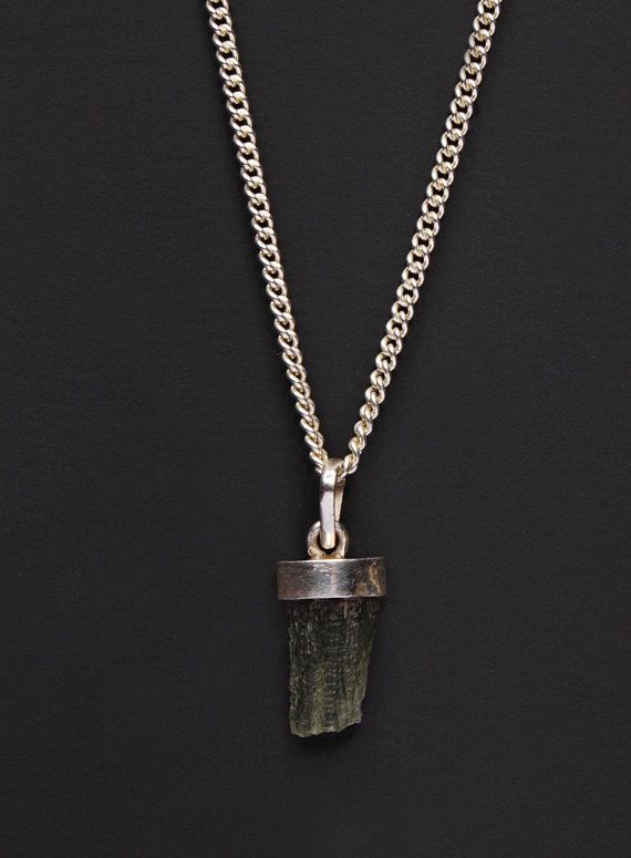 508ba6f45073 Moldavite necklace for men - Moldavite silver pendant necklace - Moldavite  jewelry - Men s sterling