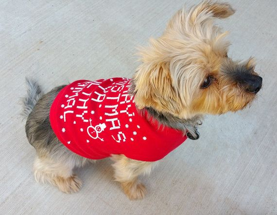 c2b68699 Dog T shirt: RED Merry Christmas Ya Filthy Animal Ugly Sweater Contest All  Sizes. Ya Filthy Animal Dog Shirt. Funny Christmas Dog Shirt.