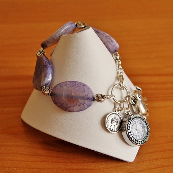 Purple Agate and charm bracelet by jarka on Etsy, $42.00