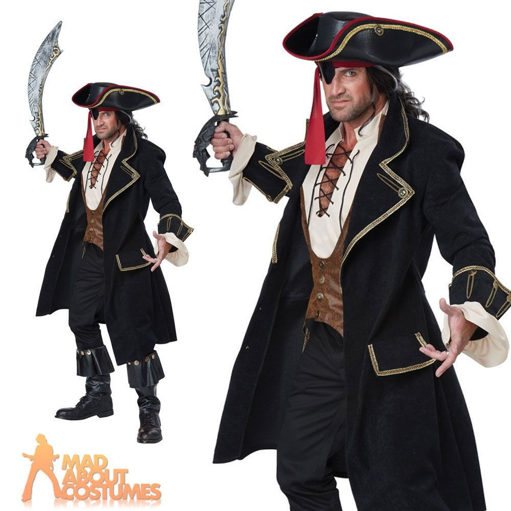 Adult Deluxe Pirate Captain Costume Buccaneer High Seas Mens Fancy Dress  Outfit eac7203babe6
