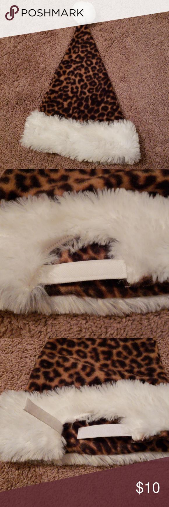 b0ae0121e67c2 🎅🤶🐆🐾 Fleece leopard print santa hat Fleece with puffy ball on ...