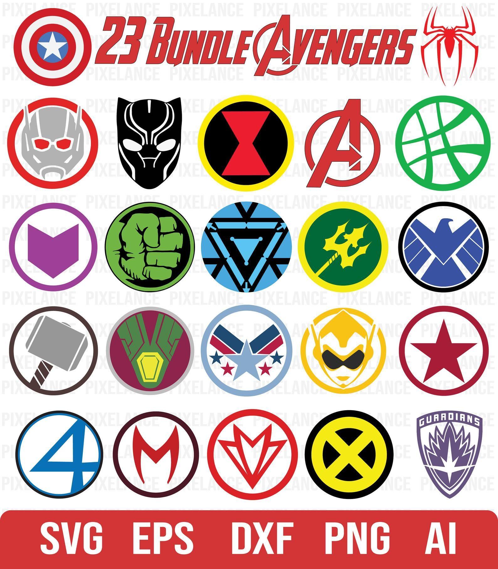ALL Avengers Logo SVG Avengers Logo Vector Superhero Logo