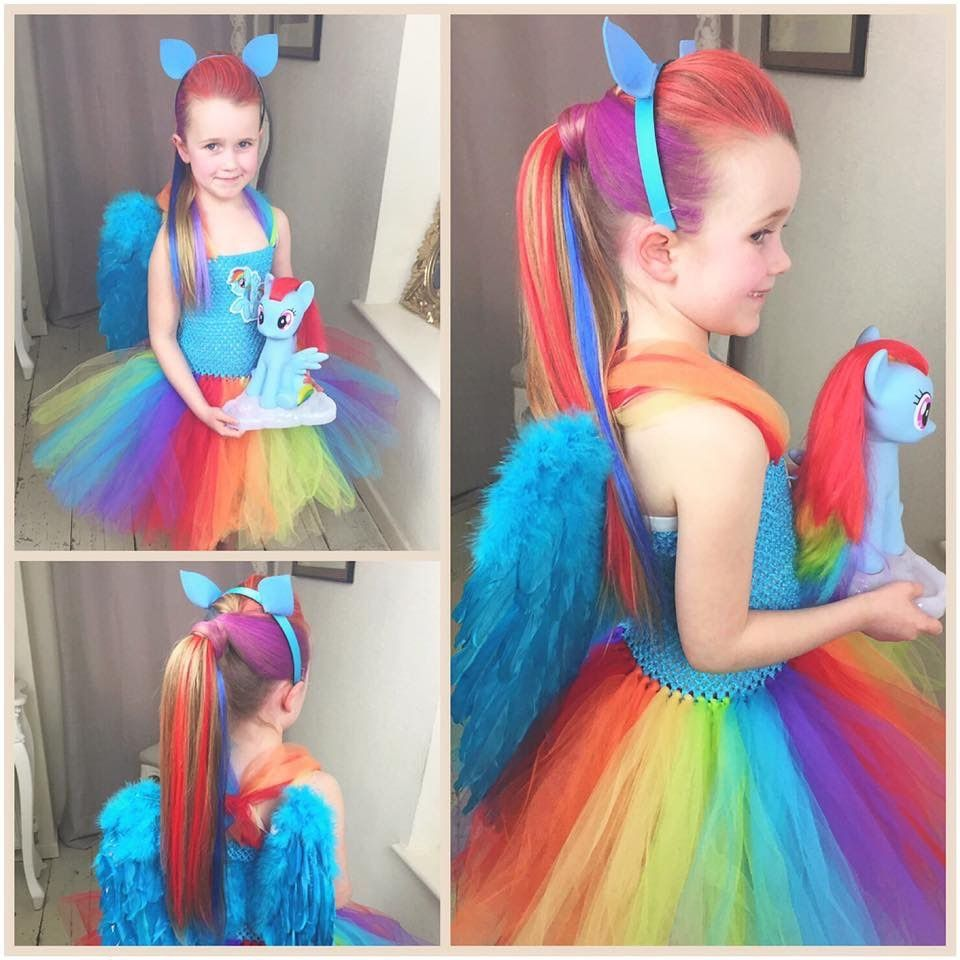 My Little Pony Rainbow Dash Tutorial By Sweethearts Hair Design My Little Pony Costume Rainbow Dash Costume Halloween Costumes For Kids