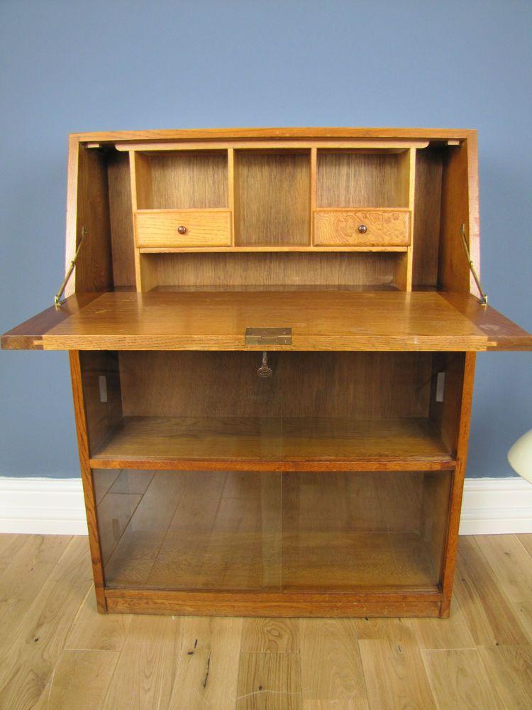1950 S Vintage Golden Oak Writing100 Bureau Bookcase