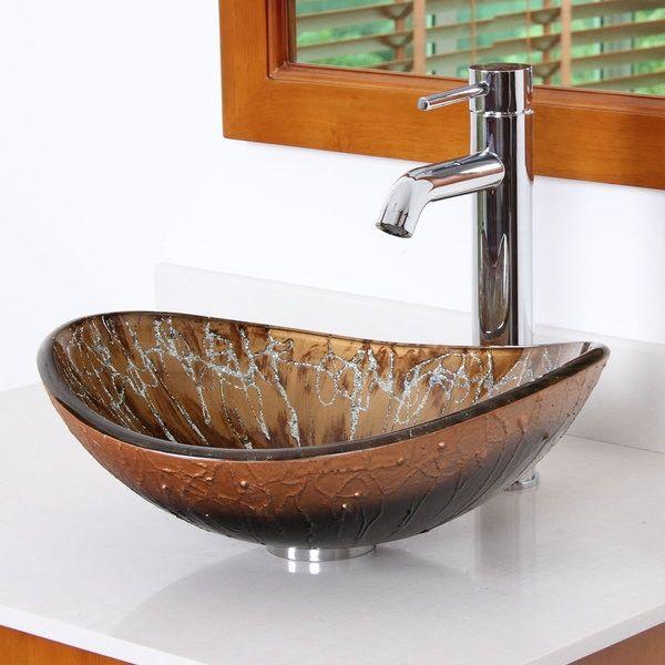 Elite Unique Oval Artistic Bronze Tempered Glass Bathroom Vessel ...