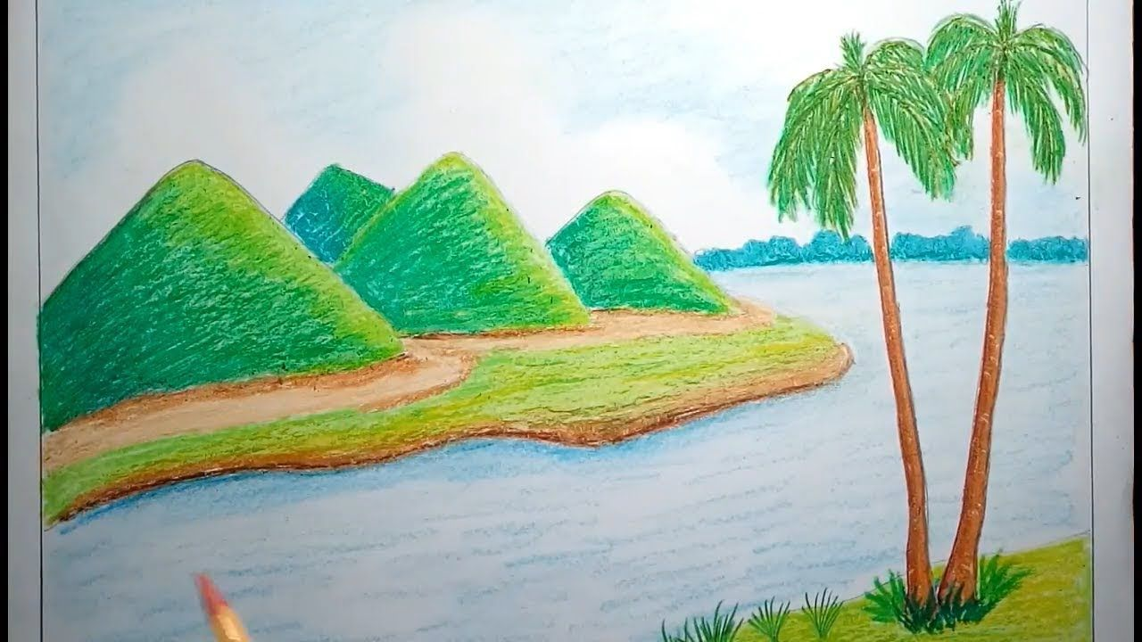 How To Draw Mountain Landscape With Oil Pastel For Kids Easy Mountain Drawing Mountain Landscape Oil Pastel